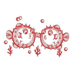 Redwork Puffer Fish embroidery design