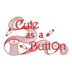 Redwork Cute Button embroidery design