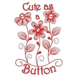 Redwork Cute Floral embroidery design