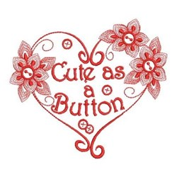 Redwork Cute Heart embroidery design