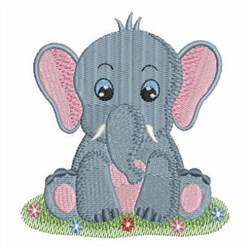 Elephant Baby embroidery design
