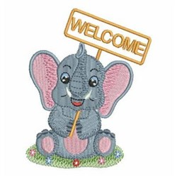 Welcome Elephant embroidery design