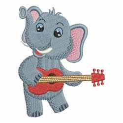 Music Elephant embroidery design