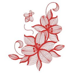 Redwork Lilies embroidery design