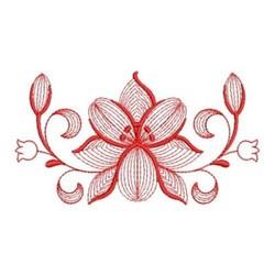 Redwork Floral embroidery design