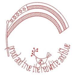 Redwork Flag embroidery design