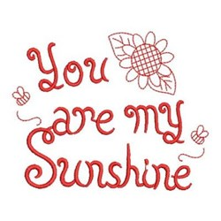 My Sunshine Redwork embroidery design