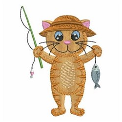 Fishing Kitty embroidery design
