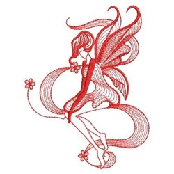 Redwork Flower Fairy embroidery design