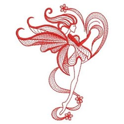 Floral Redwork Fairy embroidery design