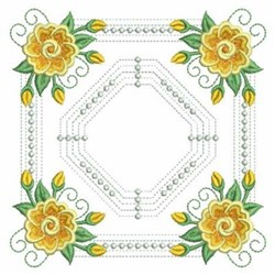 Yellow Rose Square embroidery design