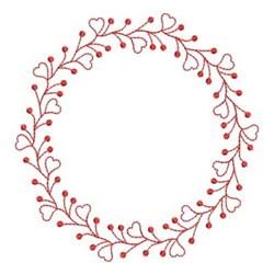 Redwork Heart Wreath embroidery design