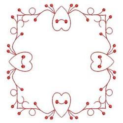 Redwork Heart Square embroidery design