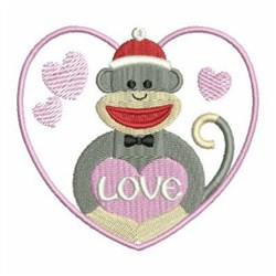 Valentines Day Sock Monkey embroidery design