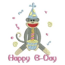 Birthday Sock Monkey embroidery design