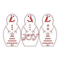 Redwork Snowmen embroidery design