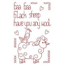 Redwork Black Sheep Rhyme embroidery design