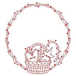 Redwork Wreath & Basket embroidery design
