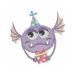 Birthday Present Monster embroidery design