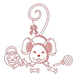 Redwork Halloween Mouse embroidery design
