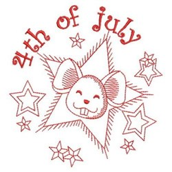 4th Of July Mouse embroidery design