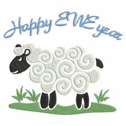 Happy Ewe Year embroidery design