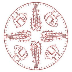 Primitive Sheep Redwork embroidery design