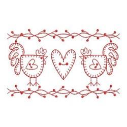 Redwork Chickens embroidery design