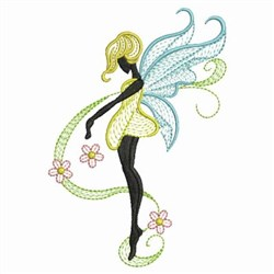 Rippled Flower Fairy embroidery design