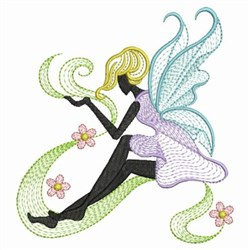 Rippled Floral Fairy embroidery design
