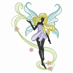 Rippled Floral Fairies embroidery design