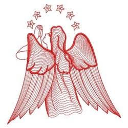 Redwork Rippled Angel embroidery design