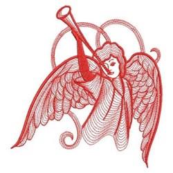 Redwork Trumpet Angel embroidery design