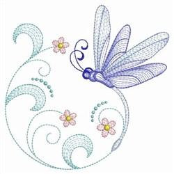 Redwork Floral Dragonfly embroidery design