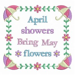 April Showers May Flowers embroidery design