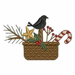 Primitive Christmas Basket embroidery design