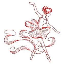Rippled Ballerina Redwork embroidery design