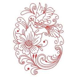 Redwork Hummingbird Oval embroidery design