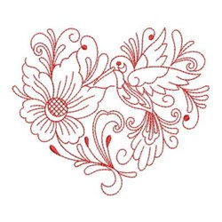 Redwork Hummingbird Heart embroidery design