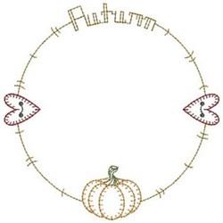 Vintage Primitive Autumn Frame embroidery design