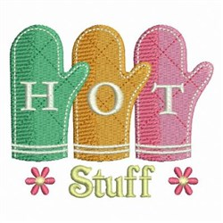 Hot Stuff Oven Mitts embroidery design