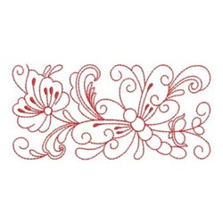 Redwork Rosemaling Butterfly Rectangle embroidery design