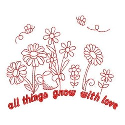 Redwork Grow With Love embroidery design