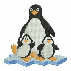 Mama Penguin & Babies embroidery design
