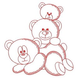Redwork Stacked Teddy Bears embroidery design