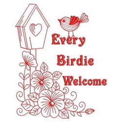 Redwork Every Birdie Welcome  embroidery design