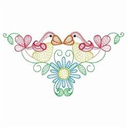 Rippled Garden Birds embroidery design