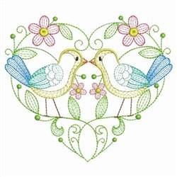 Rippled Garden Bird Heart embroidery design