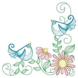 Rippled Garden Birds Corner embroidery design