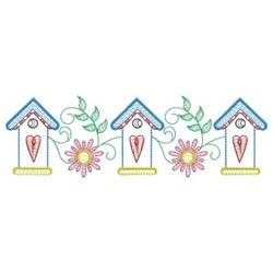 Rippled Garden Birdhouses embroidery design